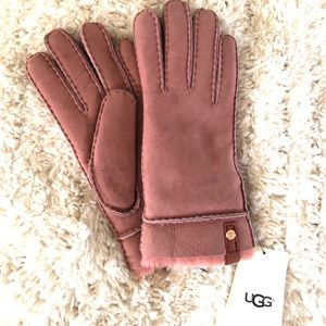 Ugg Tanney Women Gloves Suede Pink Sz Med New